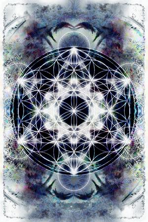 光のマカバと抽象的な色の背景上の生命の花。神聖な幾何学。 写真素材