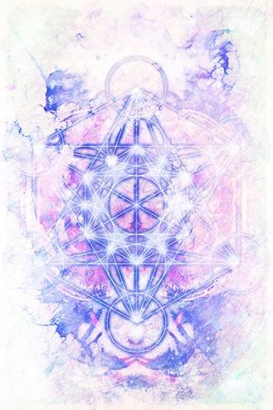 chakra energy: Merkaba and mandala on marble background. Sacred geometry.