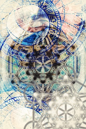 energy healing: Light merkaba and zodiac and abstract background. Sacred geometry. Stock Photo