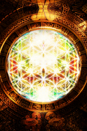 sacred heart: Flower of life and ancient Mayan Calendar on abstract color background. Sacred geometry.
