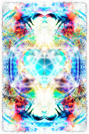 sacred heart: Light merkaba and heart on abstract background. Sacred geometry. Stock Photo