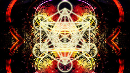 heart chakra red: Light merkaba on abstract color background. Sacred geometry.