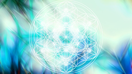 Light merkaba and Flower of life on abstract color background and fractal structure. Sacred geometry. Stock Photo