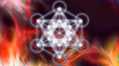 heart chakra red: Merkaba on abstract color background. Sacred geometry.