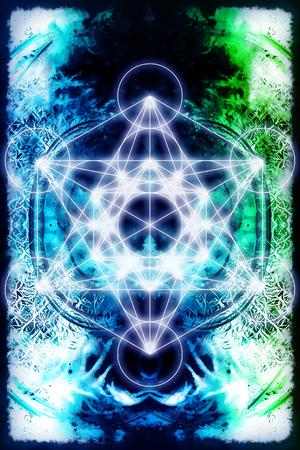 chakra energy: Light merkaba on abstract background. Sacred geometry.