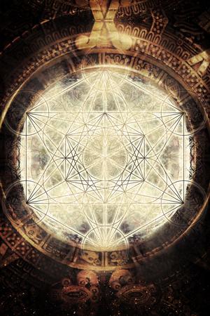Light merkaba and ancient Mayan Calendar in cosmic space. Sacred geometry. 版權商用圖片