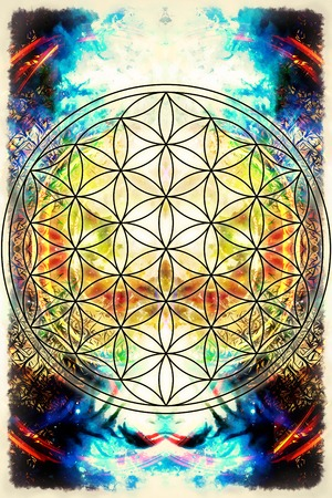 Flower of life on abstract color background. Sacred geometry. Stock Photo