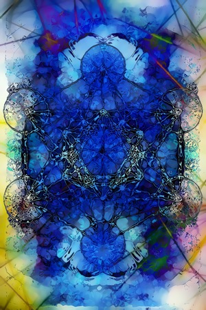 Merkaba on abstract color background. Glass effect.