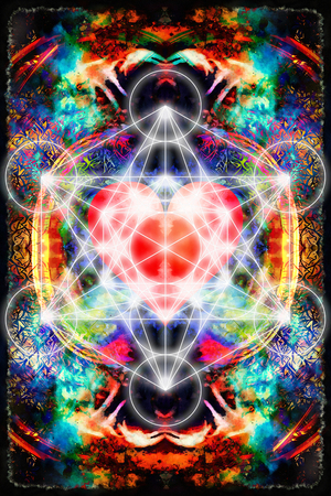 homeopathic: Light merkaba and heart on abstract background. Sacred geometry. Stock Photo