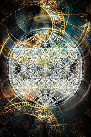 Light merkaba and flower of life and zodiac in cosmic space. Sacred geometry.