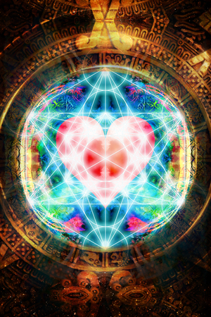 Light merkaba and heart and ancient Mayan Calendar in cosmic space. Sacred geometry.