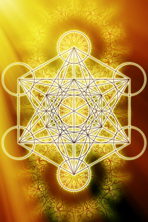 Merkaba and mandala on abstract color background. Sacred geometry. Sun light effect. 写真素材