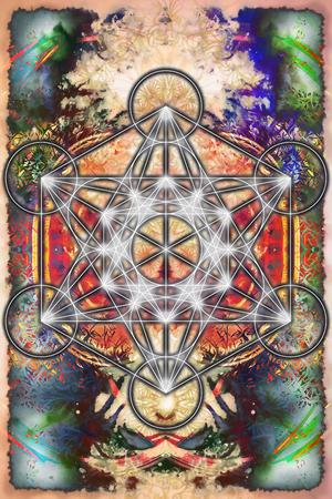 chakra energy: Merkaba and mandala on abstract color background. Sacred geometry.