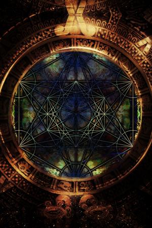 chakra energy: Light merkaba and zodiac in cosmic space. Sacred geometry.