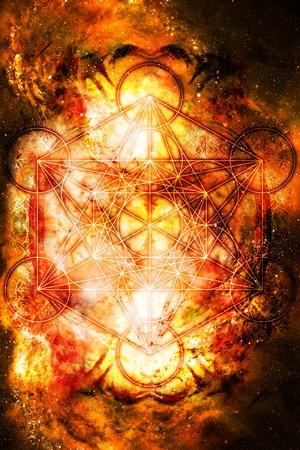 heart chakra red: Light merkaba in cosmic space. Sacred geometry. Fire effect. Stock Photo