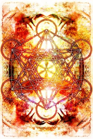chakra energy: Light merkaba on abstract background. Sacred geometry. Fire effect. Stock Photo