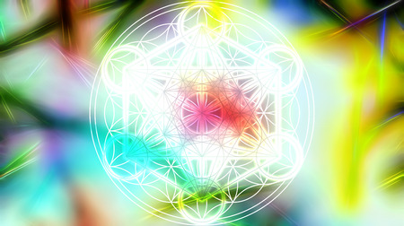 sacred heart: Light merkaba and Flower of life on abstract color background and fractal structure. Sacred geometry. Stock Photo