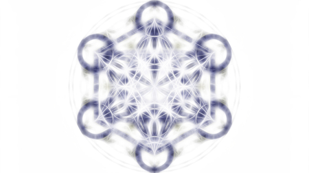 energy healing: Flower of life and merkaba on white background, fractal effect. Sacred geometry.