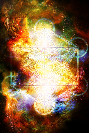 宇宙空間に光のマカバ。神聖な幾何学。