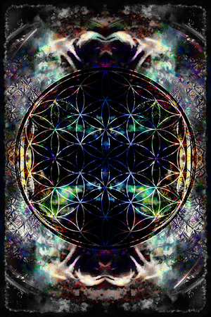 energy healing: Flower of life on abstract color background. Stock Photo
