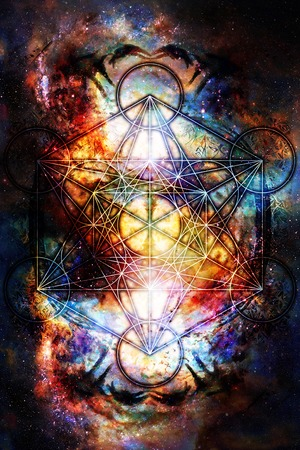 Light merkaba in cosmic space. Sacred geometry.