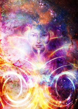 Goddess Woman and light circle and ornamets in Cosmic space. Cosmic Space background. eye contact.