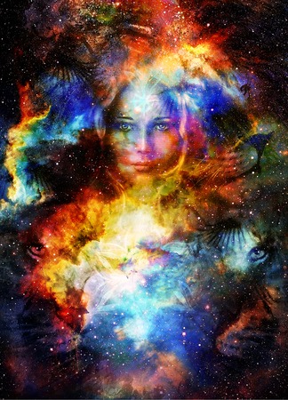 Goodnes woman and lion in space with galaxi and stars. profile portrait, eye contact. Stock Photo