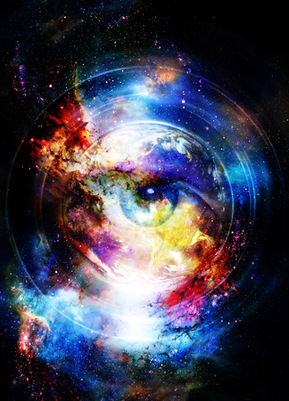 Woman eye in cosmic background. Painting and graphic design.