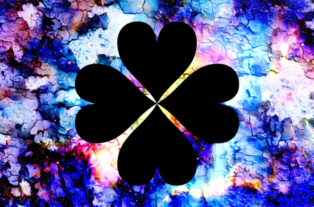 four-leaf clover from heart and color cosmic abstract background and crackle effect Stock Photo