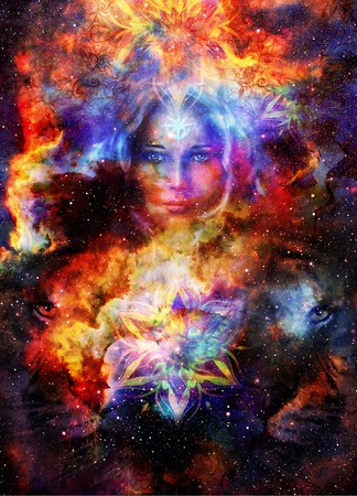 Goddess Womain and lion eye and ornametal mandala in Cosmic space. Cosmic Space background. eye contact Stock Photo