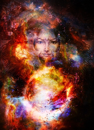 Goddess Woman and and fire planet. Cosmic Space background Stock Photo