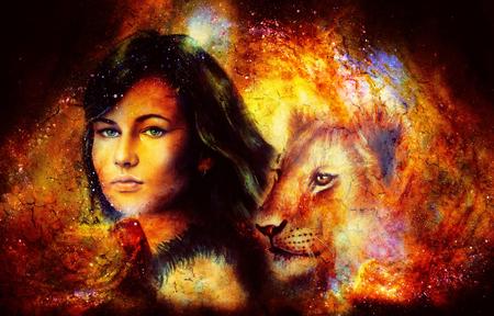 Jonge vrouw en leeuw welp in kosmische ruimte. Crackle effect. Stockfoto