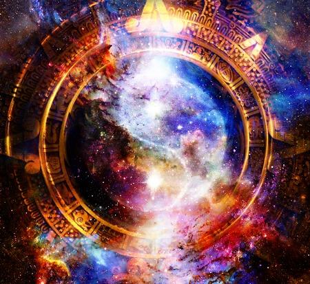 Yin Yang Symbol in maya calendar. Cosmic space background.