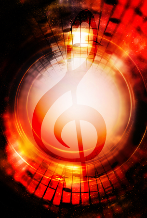 psyche: Music notes and clef in space with stars. abstract color background. Music concept.