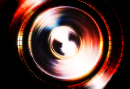 dancing club: Silhouette of music Audio Speaker, abstract background, Light Circle. Music concept.