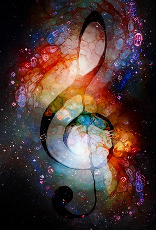Music clef in space with stars. abstract color background. Glass effect. Music concept. Stock Photo