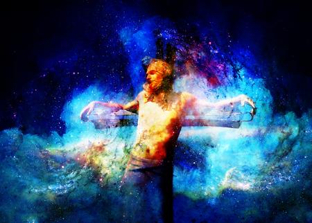 interpretation of Jesus on the cross in cosmic space. 版權商用圖片