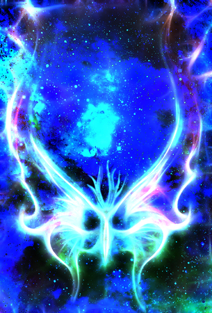 butterfly in cosmic space and winter effect Color cosmic abstract background.