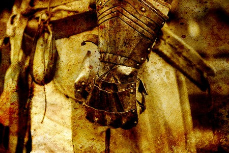 showpiece: Detail knight armor. Gloves of a knight. Sepia effect.