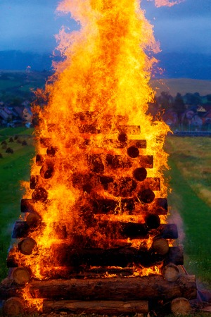 great burning bonfire made of logs with beautiful flames. Stock Photo