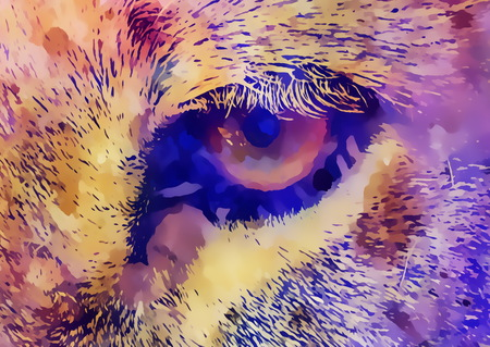 Lion eye and graphic effect. Computer collage.