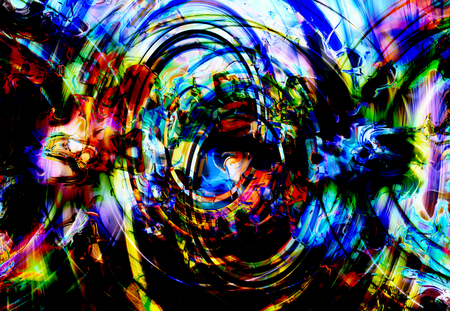 Centripetal circle shapes on abstract colorful cosmic.