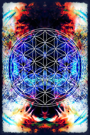 healing: Flower of life on abstract color background. Sacred geometry. Stock Photo