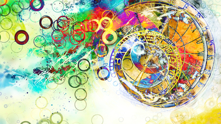 astrological symbol Zodiac. Abstract color background. Computer collage. Stock fotó