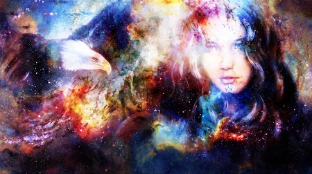 healing: Goodnes woman and eagles. Cosmic Space background.