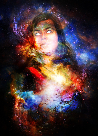 healing: Goddess Woman in Cosmic space. Cosmic Space background.