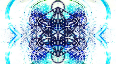 healing: Light merkaba and Flower of life on abstract color background and fractal structure. Sacred geometry. Stock Photo
