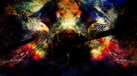 Eagle in cosmic space. Profile portratit. Computer collage.