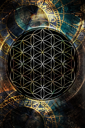 healing: Flower of life and zodiac in cosmic space. Sacred geometry.