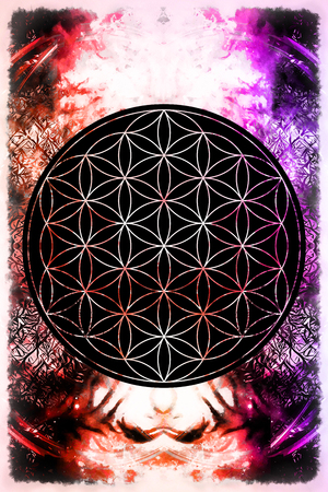 sacred heart: Flower of life on abstract color background. Stock Photo